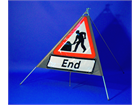 Road works end roll up road sign