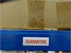 Quarantine stock rack label.