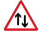 Two-way traffic straight ahead sign