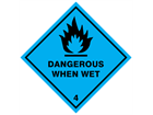 Dangerous when wet 4 hazard warning diamond sign