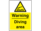 Warning diving area sign.