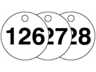 Plastic valve tags, numbered 126-150