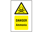 Danger ammonia symbol and text safety sign.