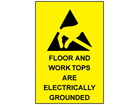 Floor and work tops are electrically grounded sign.