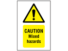 Caution mixed hazards symbol and text safety sign.