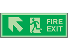 Fire exit, arrow diagonal facing the left and up photoluminescent safety sign