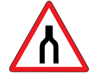 Road narrows to single lane sign