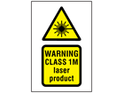 Warning Class 1M laser product symbol and text safety sign.