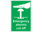 Emergency electric cut off symbol and text safety sign.