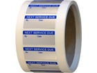 Next service due aluminium foil labels.