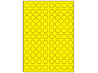 Yellow polyester laser labels, 20mm diameter