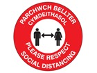 Please respect social distancing (bilingual Welsh/English)