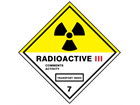 Radioactive 111, class 7, hazard warning diamond label, magnetic