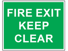 Fire exit keep clear text safety sign.