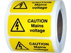 Caution mains voltage label.