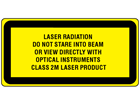 Laser radiation do not stare into beam or view directly with optical instruments, class 2M laser equipment warning label.