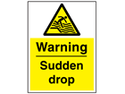 Warning sudden drop sign.