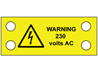 Warning 230 volts AC cable tie tag.