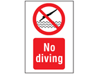 No diving symbol and text safety sign.
