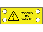 Warning 400 volts AC cable tie tag.