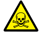 Toxic hazard warning symbol label.