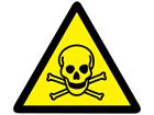 Toxic hazard warning symbol label.