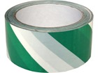 Laminated warning tape, green and white chevron.