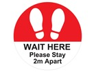 Wait here, please stay 2M apart sign