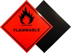 Flammable hazard warning diamond label, magnetic