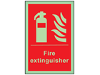 Fire extinguisher symbol and text photoluminescent safety sign
