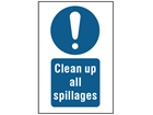Clean up all spillages symbol and text safety sign.