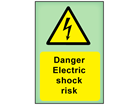 Danger Electric shock risk photoluminescent safety sign