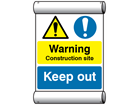Site safety notice - Warning construction site, Keep out scaffold banner
