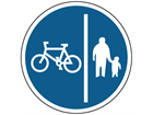 Segregated pedal cycle and pedestrian route sign