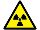 Radiation warning symbol label.
