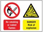 No smoking or naked flames, Danger risk of explosion safety sign.