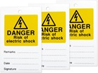 Danger risk of electric shock tag.