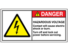 Hazardous voltage contact will cause electric shock or burn label
