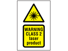 Warning Class 2 laser product symbol and text safety sign.