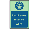 Respirators must be worn photoluminescent safety sign