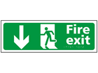 Fire exit, running man, arrow down sign.