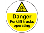 Danger fork lift trucks operating symbol and text floor graphic marker.