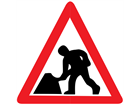 Road works temporary road sign.