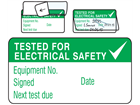 Tested for electrical safety, next test due jumbo write and seal labels.