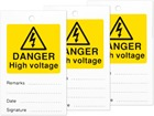 Danger high voltage tag.