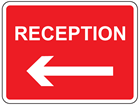 Reception, arrow left sign