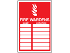Fire wardens register sign