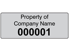 Assetmark tamper evident serial number label (black text), 19mm x 50mm