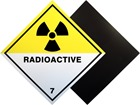 Radioactive, class 7, hazard warning diamond label, magnetic