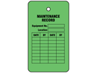 Maintenance record tag.